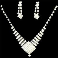 accessories place - Newest Bride Necklace Earrings Suit Wedding Place White Square Diamond Necklace Diamond Wedding Jewelry Dress Accessories
