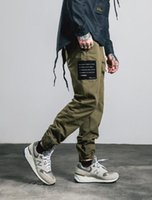 army inf - INF Mens Fall and winter patch photo Trousers legs zipper design Bib leg pants with men s casual pants