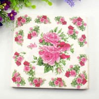 Wholesale Rose Flower paper napkin wedding christmas new year party table supplies Tissue Napkins Decoupage cm cm