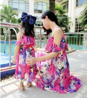 Wholesale Mother and Daughter Dress Baby Clothes Mom and Baby Girl Clothes Beach Chiffon Dress Lining Ruffle Floral Bohemian Dress Family Clothing