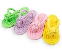 Wholesale Pet dogs and cats candy color colorful toys CaiSe Mian rope woven slippers HY1292