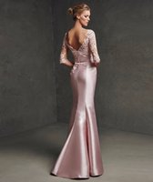 Los vestidos de noche largos elegantes rosados de la manga de la tolerancia Karin 2016 Nueva madre de la llegada de los vestidos de noche formales de las mujeres del vestido de la novia