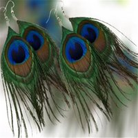 Wholesale Womens Peacock Feather Pierced Stud Earrings DHL Real Feather Hot Selling Ears Fashion Earing Accessories Trend Jewelry
