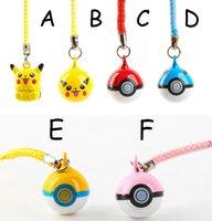 bell ball game - DHL cm Poke go Pocket Monsters Game Toy Pikachu Poke Ball jingle Mini Bells Cell Phone Strap Dangle pendant key ring B