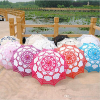 Wholesale Lace Wooden handle Sun Umbrella Embroidery Lace Parasol Cotton Umbrella Wedding Decoration Bride Accessory colors OOA1021