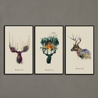 art paint abstract triptych - 3 Panels Triptych Watercolor Animal Beautiful Deer Art Prints Elk Wall Picture Canvas Painting Kids Room Home Decor Unframed