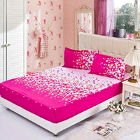 Wholesale fitted sheet elastic mattress cover dazzle colour red bed cloth skirt cushion cover bedspread flat sheet pillowcase set