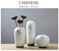 Wholesale The new Chinese modern ceramic flower vase of flowers with bright glaze ink lotus flower Home Furnishing desktop living room furnishings