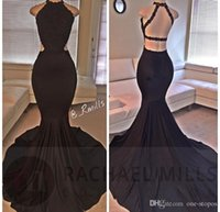 Wholesale Sexy Backless Real Image Black Mermaid Evening Dresses Lace Halter Formal Evening Party Gowns Court Train Prom Dress BA2666