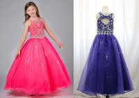 Wholesale Real photos jewel neck toddler girls pageant dresses zipper back organza little girl ball gowns beaded rhinestone party dress for teens