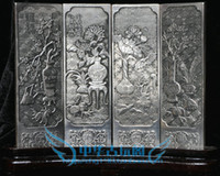 Metal antique chinese screens - Elaborate Chinese collection Tibetan silver Antique flowers folding screen