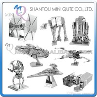 Wholesale DHL Piece Fun D Star wars Xwing ATAT Millennium Falcon Darth Vader Tie Fighter Metal Puzzle adult models educational toy