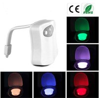 Wholesale 8 Color LED Motion Sensing Automatic Toilet Bowl Night Light Bathroom Washroom Night Lamp Toilet Bowl Light Sensor Seat Nightlight