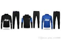 Wholesale thai quality red blue black jacket Training suit kits soccer Jersey Ibrahimovic MATA MARTIAL ROONEY POGBA RASHFORD football shirt