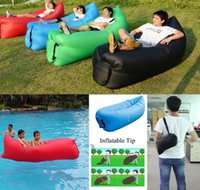 Wholesale Super Inflatable Camping Sofa Banana Sleeping Lazy Chair Bag Nylon Hangout Air Beach Bed Couch Lay Outdoor Sleep Inflatable Air Lounger
