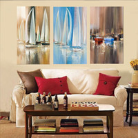 acrylic paintings on canvas - Modern Impressionism Boat On Sea Still LIfe Painting Canvas Artwork Acrylic Paintings Handmade Colors Unframed