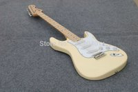 Wholesale Top quality Milk yellow Fen st electric guitar Chinese Best Factory can customize color New arrival AAA guitarra