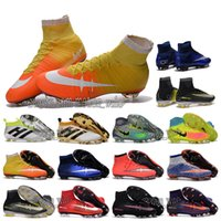 Wholesale Children high ankle football boots CR7 MerCUrial SupERfly V shoes MaGIsta Orden FG AG TF soccer cleats Youth kids ACE PureControl
