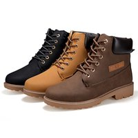 Wholesale Fashion New Men Winter Lace Up PU Leather Shoes Plus Size Mens High top Casual Men Thick Snow Boots