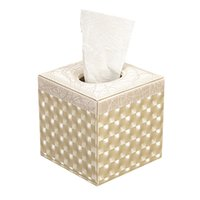 Wholesale Home Decor Office Leather Tissue Box Square Roll Tissue Box Cover MDF structure Napkin Towel Paper Holder for home decorative