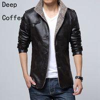 Wholesale 2016 Winter new men s long leather jacket windbreaker thicken velvet leather jackets young men s winter coat