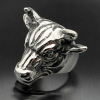 american buffalo horns - New Men s Rocker Bull Head Ring Silver Stainless Steel Biker Buffalo Horn Ox Cow Best Quality