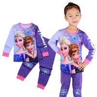 venda por atacado summer pajamas-2016 crianças congeladas elsa anna roupas bebê meninas roupa conjuntos criança 2 peças pijamas conjuntos crianças primavera verão pijamas XE-084