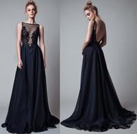 art silk lace - 2017 black lace appliques beaded berta evening gowns sheer beteau neckline backless sweep train evening dresses