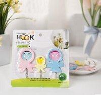 Wholesale 1145 three mouth home creative cute hook multi purpose strong wall hook bath towel stick hook loaded