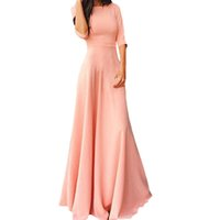 Wholesale S5Q Women s Sexy Elegant Crew Neck High Waist Gown Cocktail Clubwear Long Dress AAAGIE