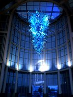 Wholesale Modern Art Glass Dale Chihuly Style Blue Chandeliers Led Crystal Blown Glass Fancy Large Luxury Hanging Lobby Decoration Chandeliers