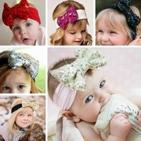 access kid - 13 Colors Cute Baby Sequins Bowknot Headbands Girls Bow Hair Band Infant Kids Lovely Headwrap Children Sequins Shinning Bow Knot Hair Access