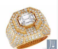 South American asscher diamonds - Men s Yellow Gold Genuine Diamond D Asscher Cut Solitaire Statement Ring CT