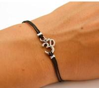 Charm Bracelets aum symbol - New India Yoga Hindu Buddhist Bracelet AUM OM Hinduism Outdoor Leather Bracelet Silver Women Men Religious Symbol Bracelet