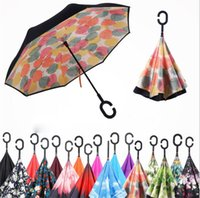 Wholesale Windproof Double Layer Folding Inverted Umbrella Self Stand Upside down Rain Protection Car Reverse Umbrellas with C shaped Handle