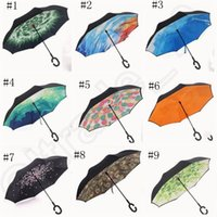 Wholesale Inverted Umbrellas Double Layer Protection C Hook Hands Inside Out Reverse Windproof Upside Down Umbrella Rain Umbrella OOA1120