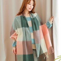 Wholesale Autumn and Winter Scarf Korean Fashion Faux Cashmere Solid Color Grid Warm Shawl Unisex Large Scarves