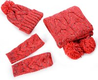 Wholesale Hat scarf gloves three piece suit
