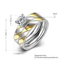 alliance china - 18K Gold Plated Alliance Ring CZ Diamond Wedding Band Ring for Women and Men Quality Titanium Steel Couple Ring