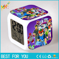 Wholesale New Style Table Clocks Creation Poke D Led Alarm Clock Cartoon Action Color Digital Daily Desk Table Clocks For Third Side