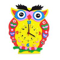 Wholesale Kids DIY Kids Animal Shape Learning Clock Puzzles Arts Crafts Kits Baby Toys
