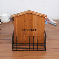 Wholesale Grocery restore ancient ways wrought iron receive basket house Household daily wooden package mail receive wall wall decoration