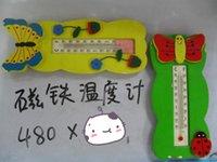 Wholesale Cartoon cute wooden thermometer fridge weatherglass refrigerator magnet temperature gauge measurement icebox magnet FRIDGE STICKER