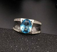 Wholesale Fashion blue topaz ring for man solid sterling silver man ring natural mm topaz man classic silver jewelry