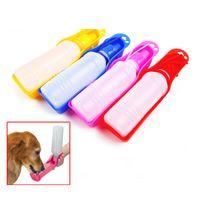 Wholesale 500ml Pet Dog Cat Water Feeding Drink Bottle Dispenser Travel Portable Foldable Plastic Feeding Bowl Puppy Water Bottle