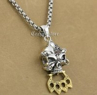 Wholesale Silver Knife Necklace - Sterling Silver Skull Red CZ Stone Brass Knuckle Duster Pendant 9S023A 316L Stainless Steel Necklace 24 inches