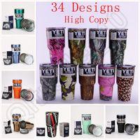 Wholesale 34 colored YETI Rambler Tumbler oz Yeti Leopard Skull Vacuum Insulated Rambler Colster Insulated Mugs Cooler Cups OOA1192