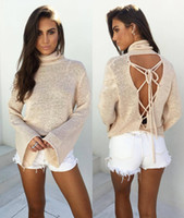 Wholesale 2016 turtleneck sweater sexy Autumn knitted tops women pullover elastic back cross sweater long sleeve tops knitwear casual winter outwear