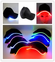 Wholesale Free DHL Hot Sale colors LED Light Hat Glow Hat Black Fabric For Adult Baseball Caps Luminous Selection LED Peaked Caps Hats