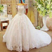 Wholesale Luxurious Ball Gown Wedding Dresses Glitz Lace Appliques Princess Wedding Gowns Off the Shoulder Bridal Gowns